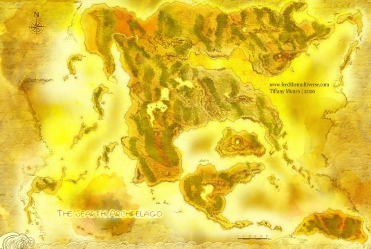 Map of volcanic archipelago on parchment yellow old paper watercolor fantasy map with no text