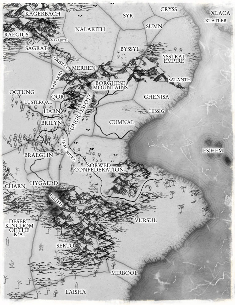 Black and white map of countries for fantasy book