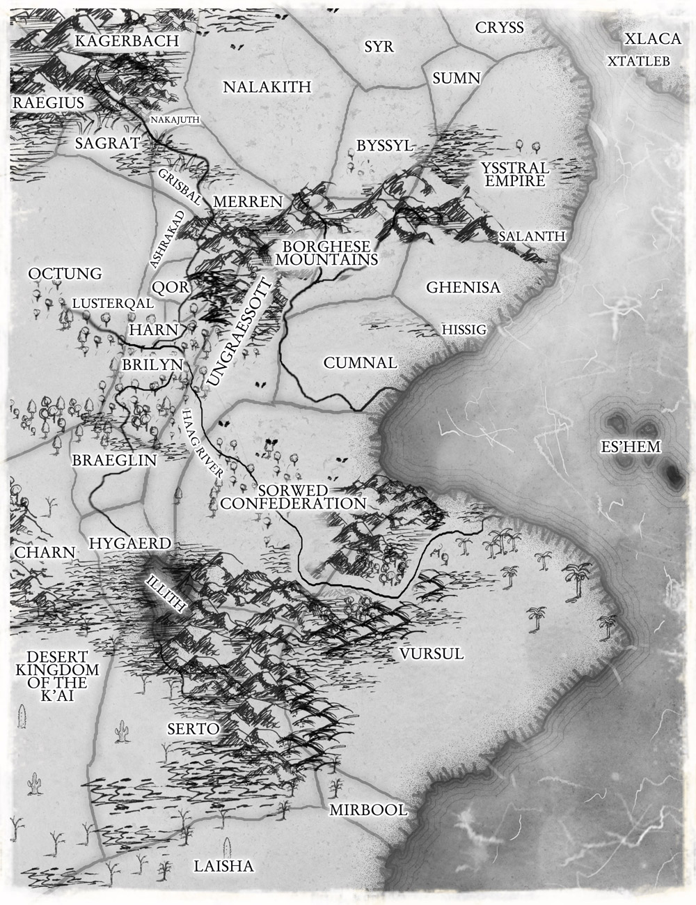 Black and white fantasy Tolkien style country map