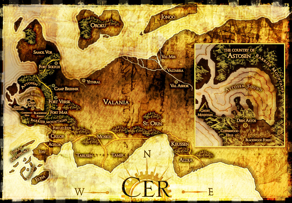 Steampunk map with inset, yellow, colorful, kingdom of Cer