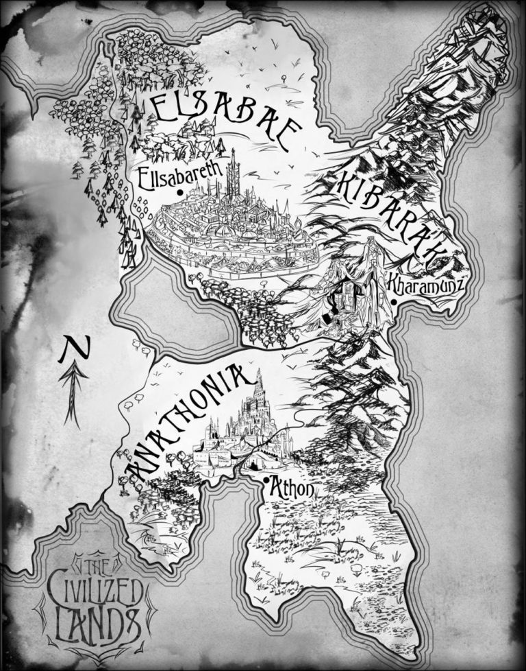 The Civilized Lands Elsabae black and white ink map for fantasy book series