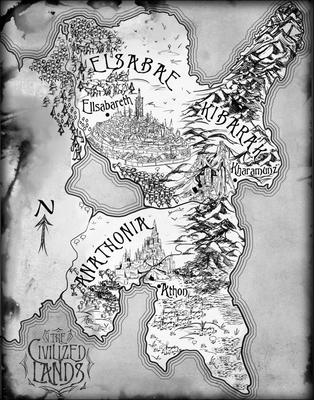Elsabae black and white ink map for fantasy book series