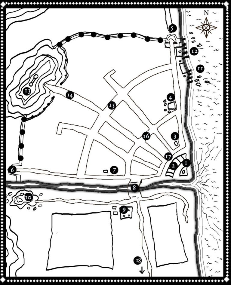 Lineart for small city fantasy map with lighthouse brick bilding slums dump