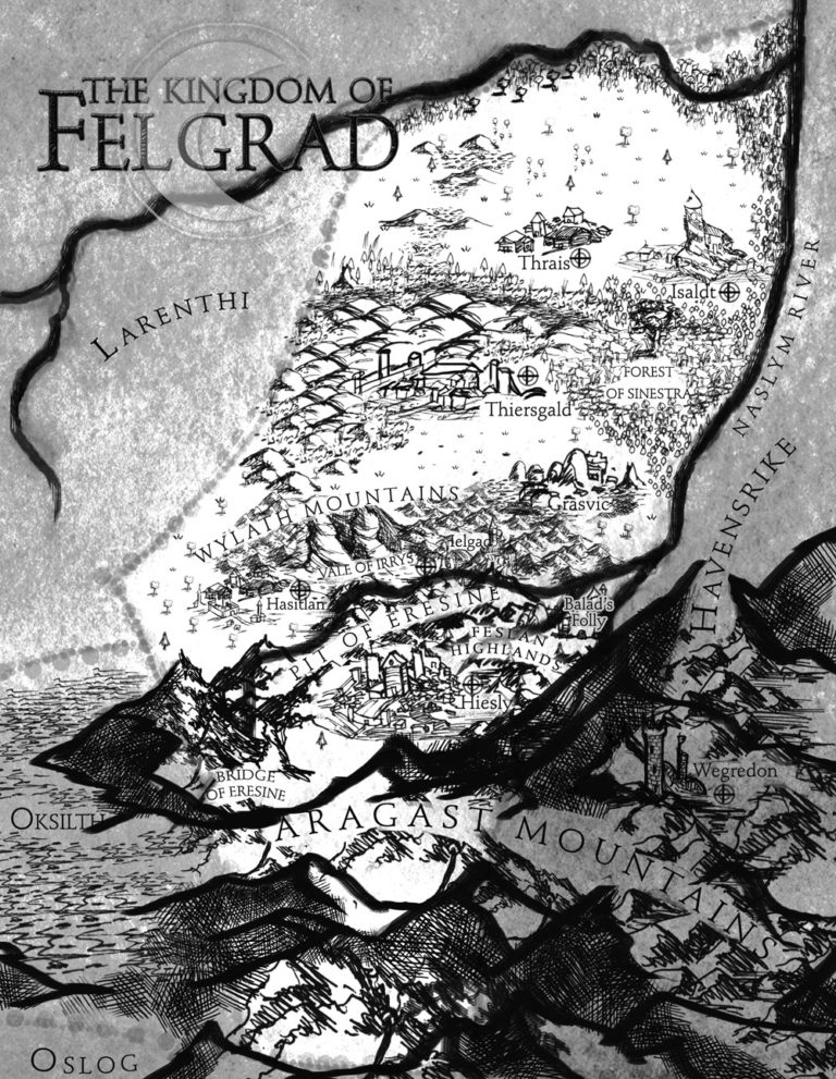 Felgrad country map close up black and white pencil ink Tolkien style map with mountains