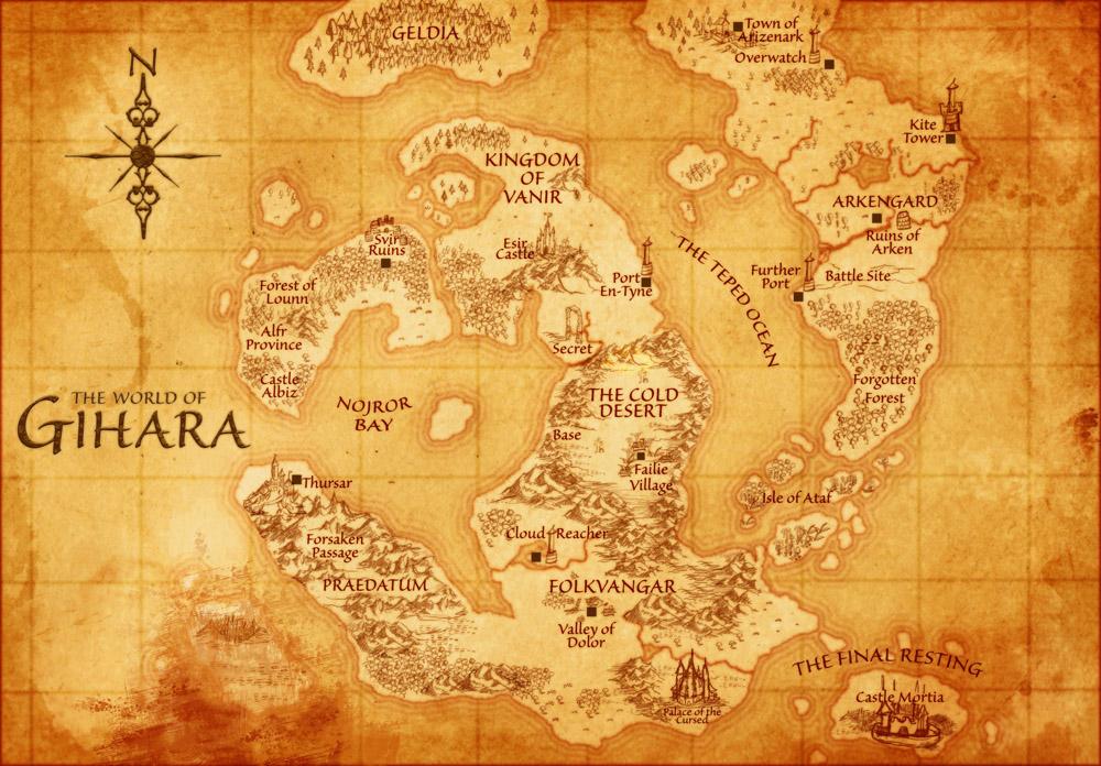 Countries of Ginara game map