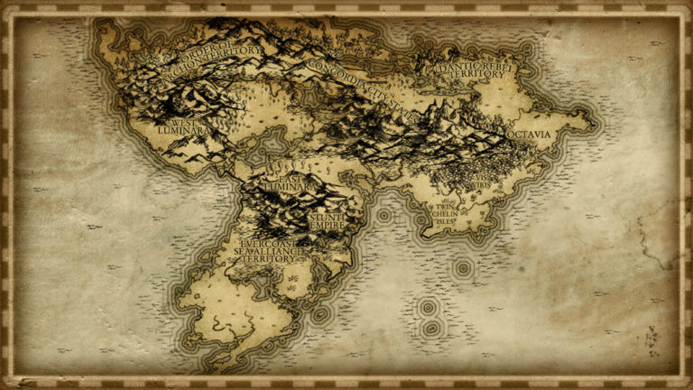 Old fashioned parchment style continent map with high detail mountains forests and border beautiful fantasy cartography