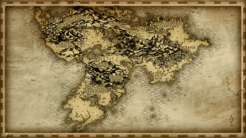 Old fashioned parchment style continent map with high detail mountains forests and border
