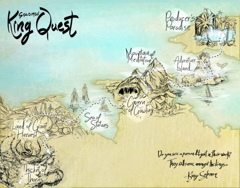 KingQuest game map of fun locations with custom illustrations and fine detail