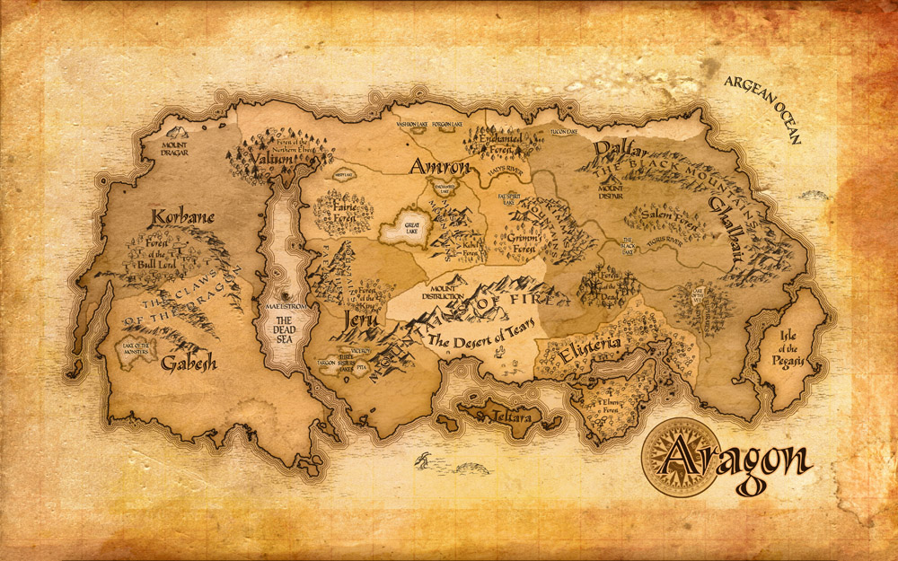 Parchment classic fantasy Tolkien-style map Lord of the Rings map of Aragon