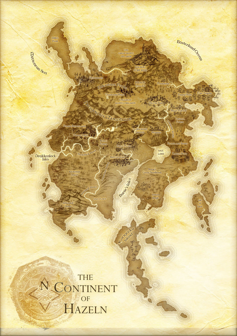 Continent of Hazeln – fantasy map with yellow parchment single continent with islands
