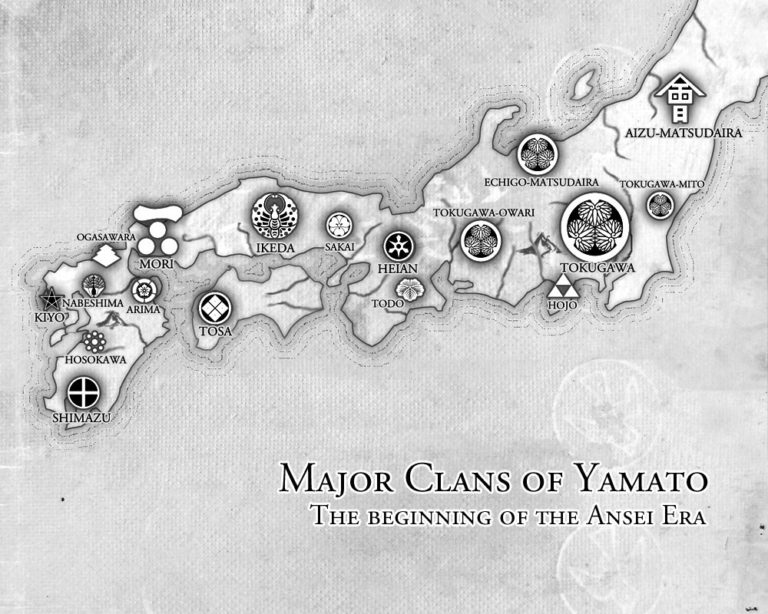 Clans of Yamato – map of Japan with clan logos