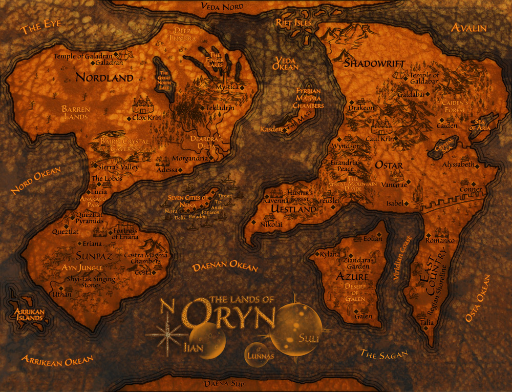 Dark orange fantasy style map for display on computer screen multi continent dark