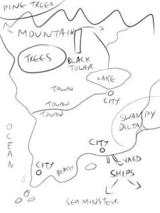 example sketch for commissioning a custom fantasy map
