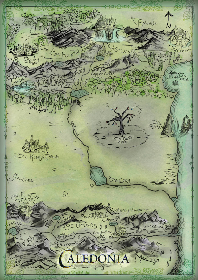 Caledonia – fantasy map for book, single country map with light pastel watercolor color style and custom cities and symbols