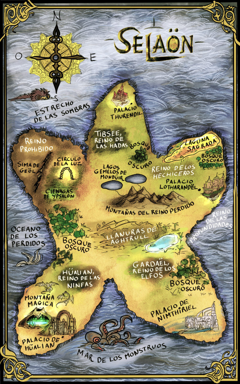 Selaon fantasy map with illustrated castles, monsters, and dragons in color cartoon Tolkien style