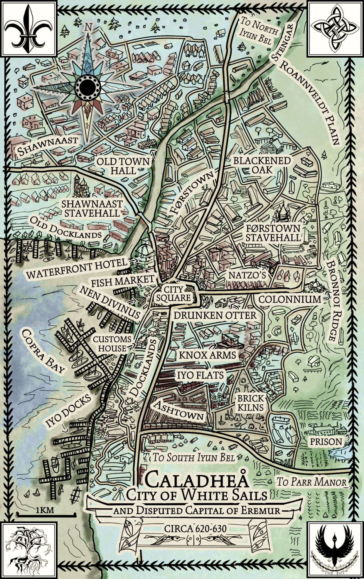 city map for Flight little buildings 1600s colonization fantasy medieval cartography fantasy city map for novel caladhea Jae Waller Call of the Rift Flight Veil Canadian novelist books 2019 contemporary fantasy best world building amazing fiction from woman female writers in Canada BC colonial view fascinating fantasy exploration