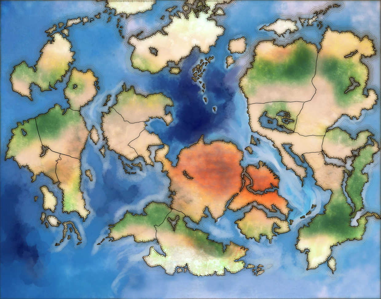 World Map For Fantasy Novel With Colored Ocean And Continents No - World map no labels