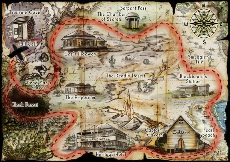 Historic Town Treasure Map – Pirate Themed Illustration