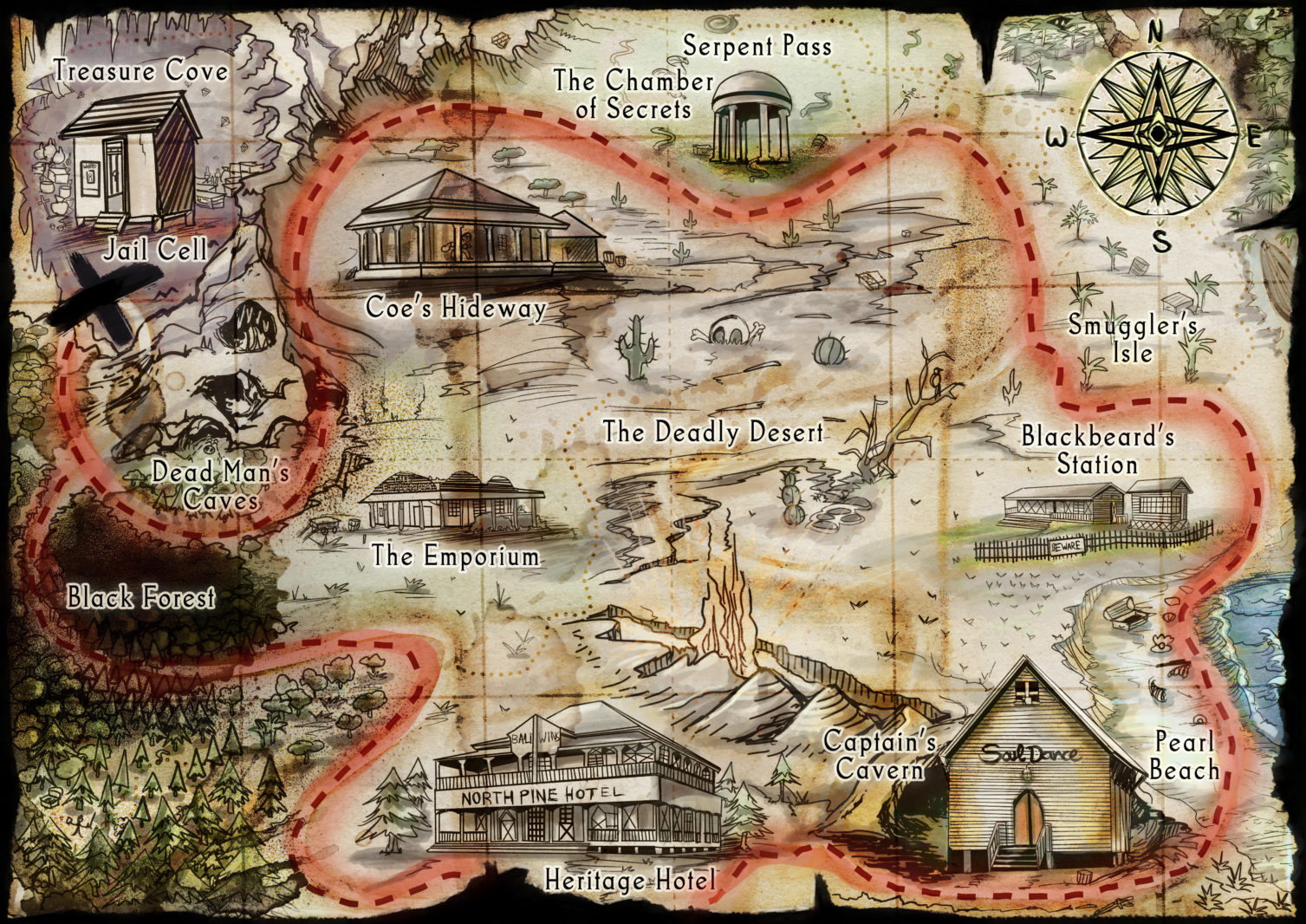 Treasure map for historical town pirate themed medieval fantastic map buildings path