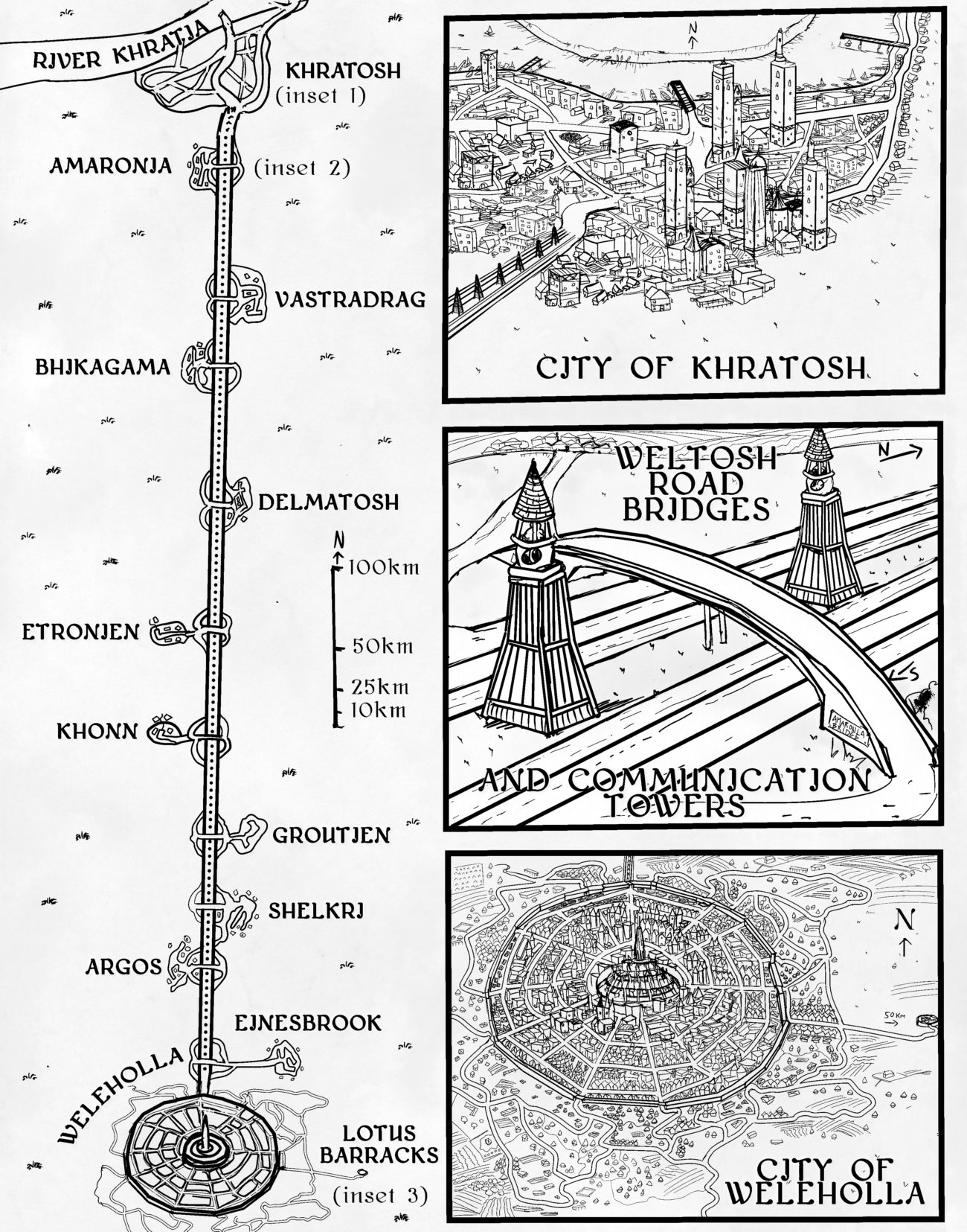 Road route map with two fantasy cartography city inserts