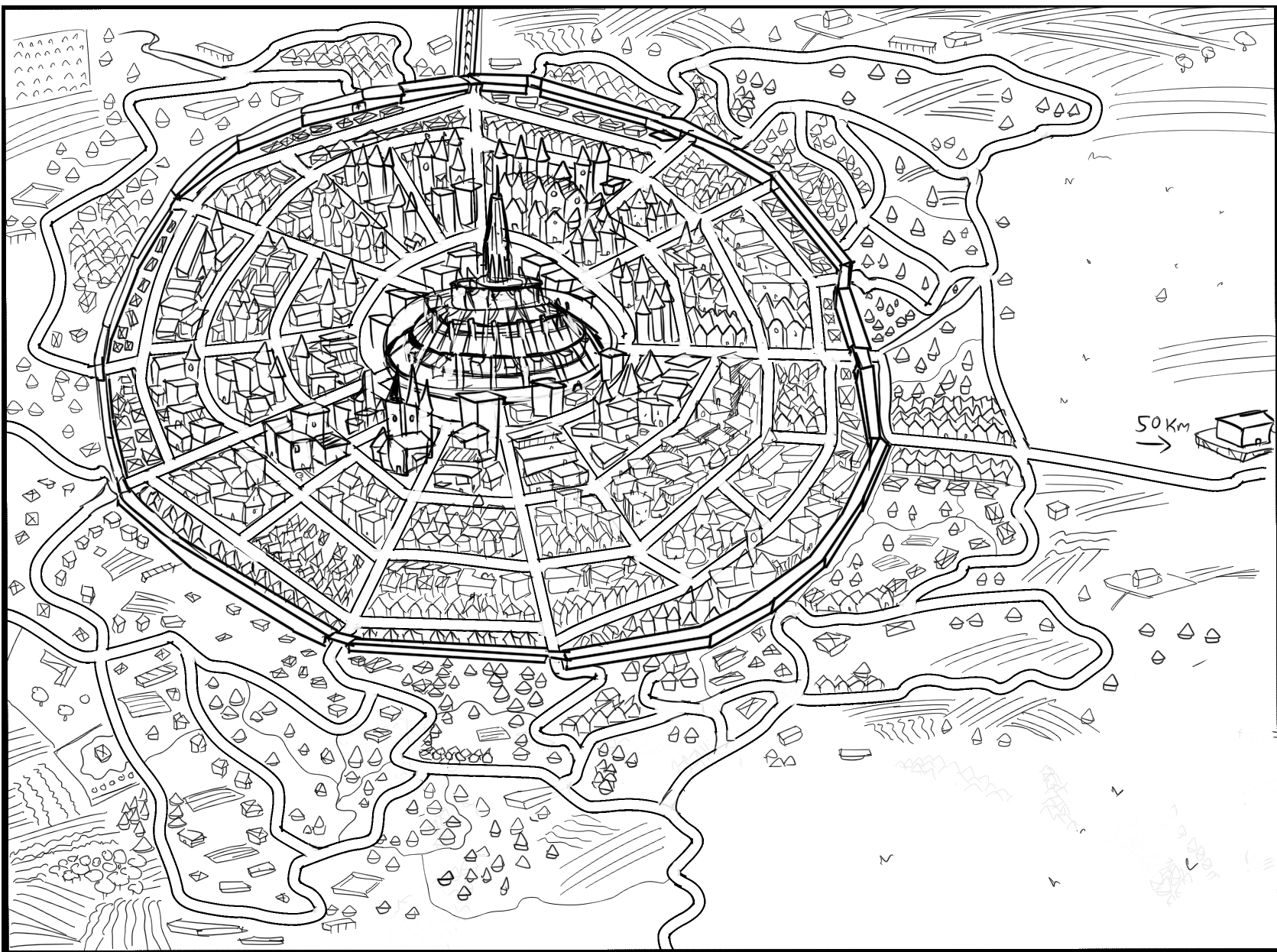 Black and white city map illustration with roads and little houses for printing in self publish novel cartography fantasy city