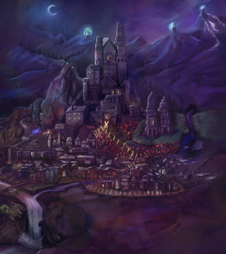Endoth Purple City at Night – fantasy book cover / concept art (and a city map sketch)