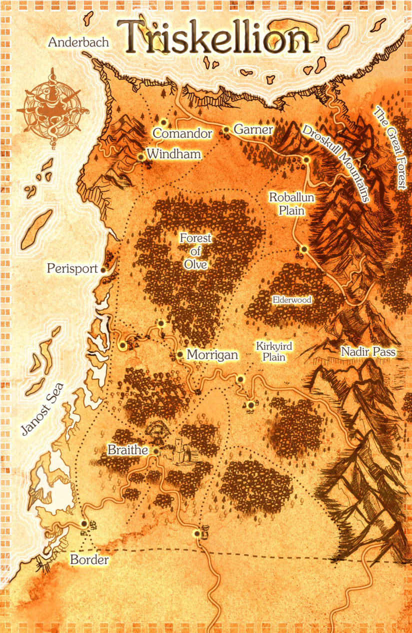 Fantasy country map in parchment with hand drawn mountains and forests.