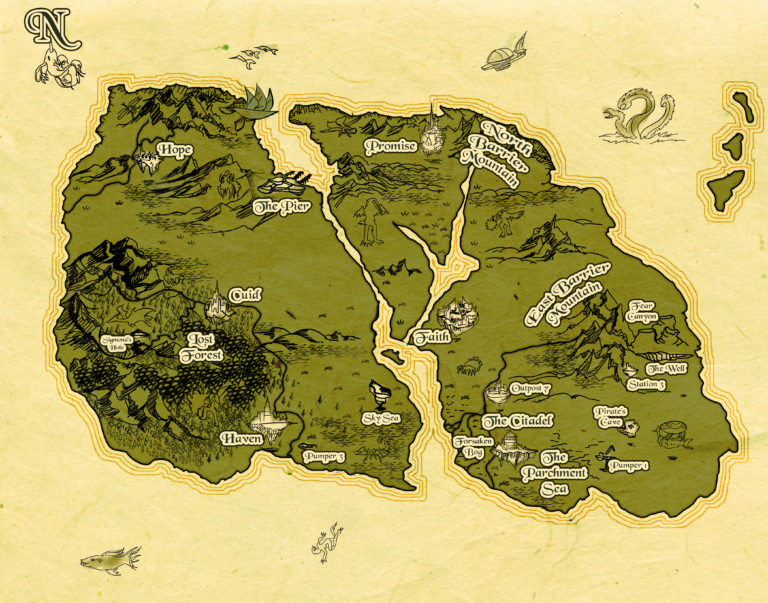 green fantasy map with monsters for game