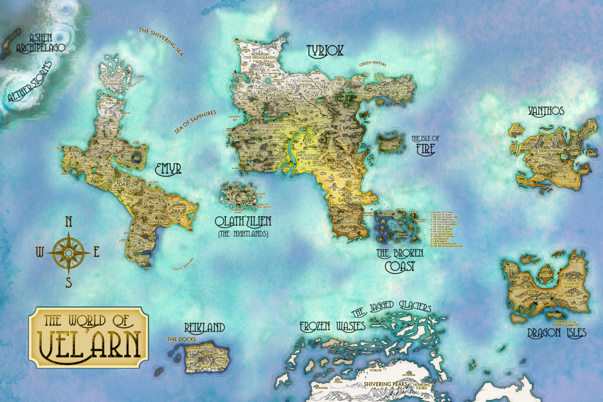 Large fantasy map for roleplay world of Vel'Arn