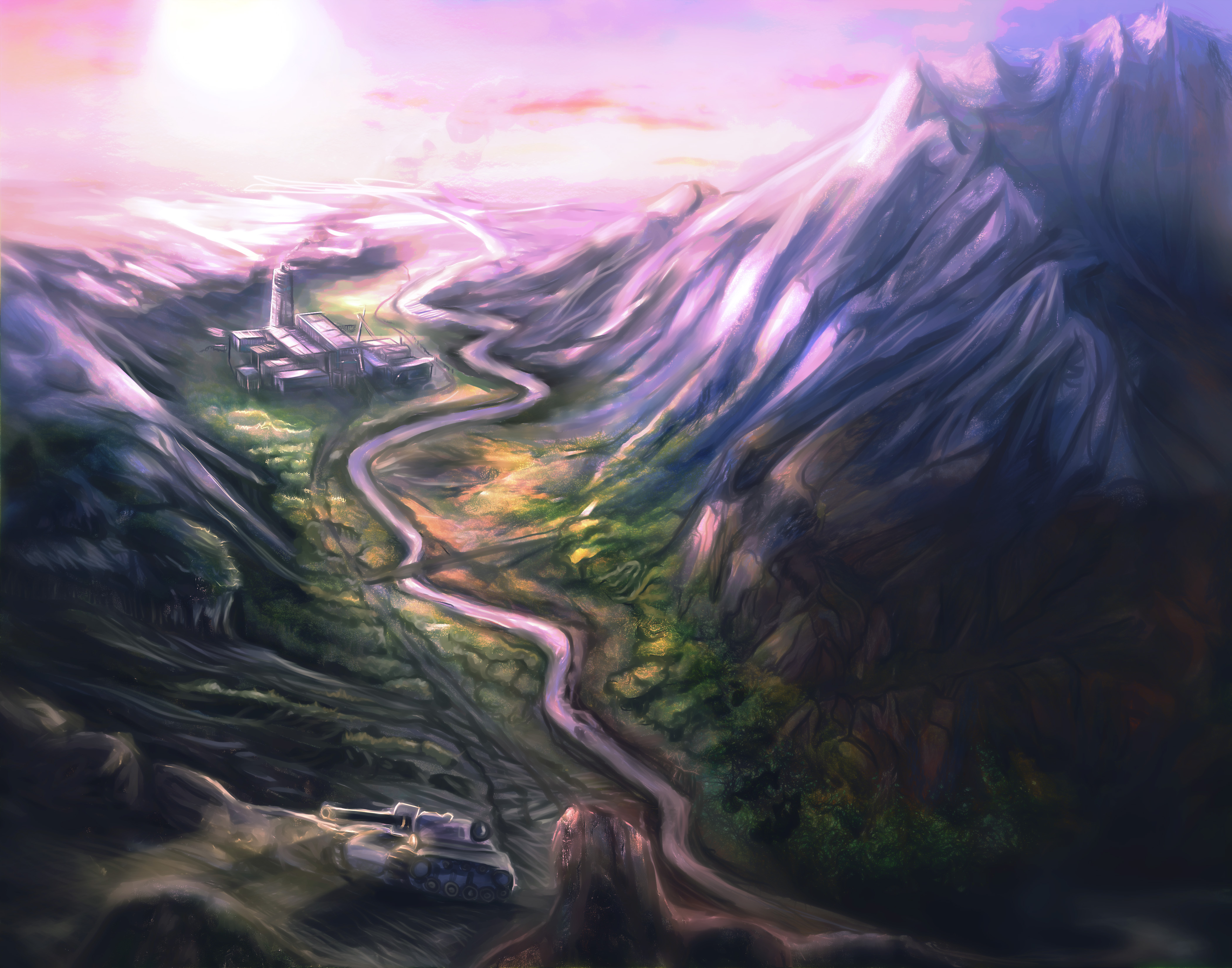 Farlander cover for ArtyRambles Sweden Mountains and Valley with River and Tank digital landscape painting concept art dystopic novel dystopia apocalypse end of the world
