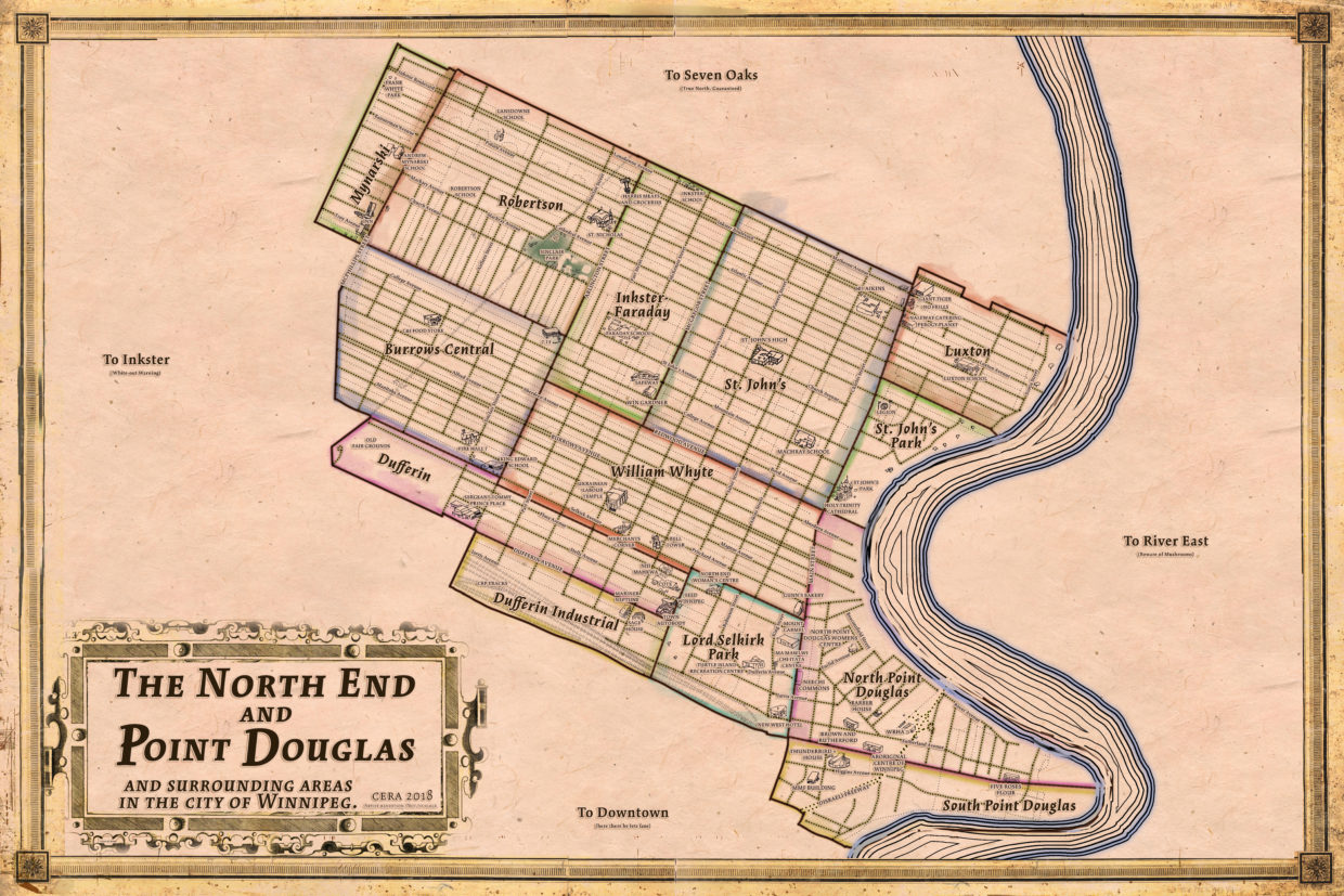 Fantasy historical-inspired style map of Winnipeg North End Point Douglas city regional map