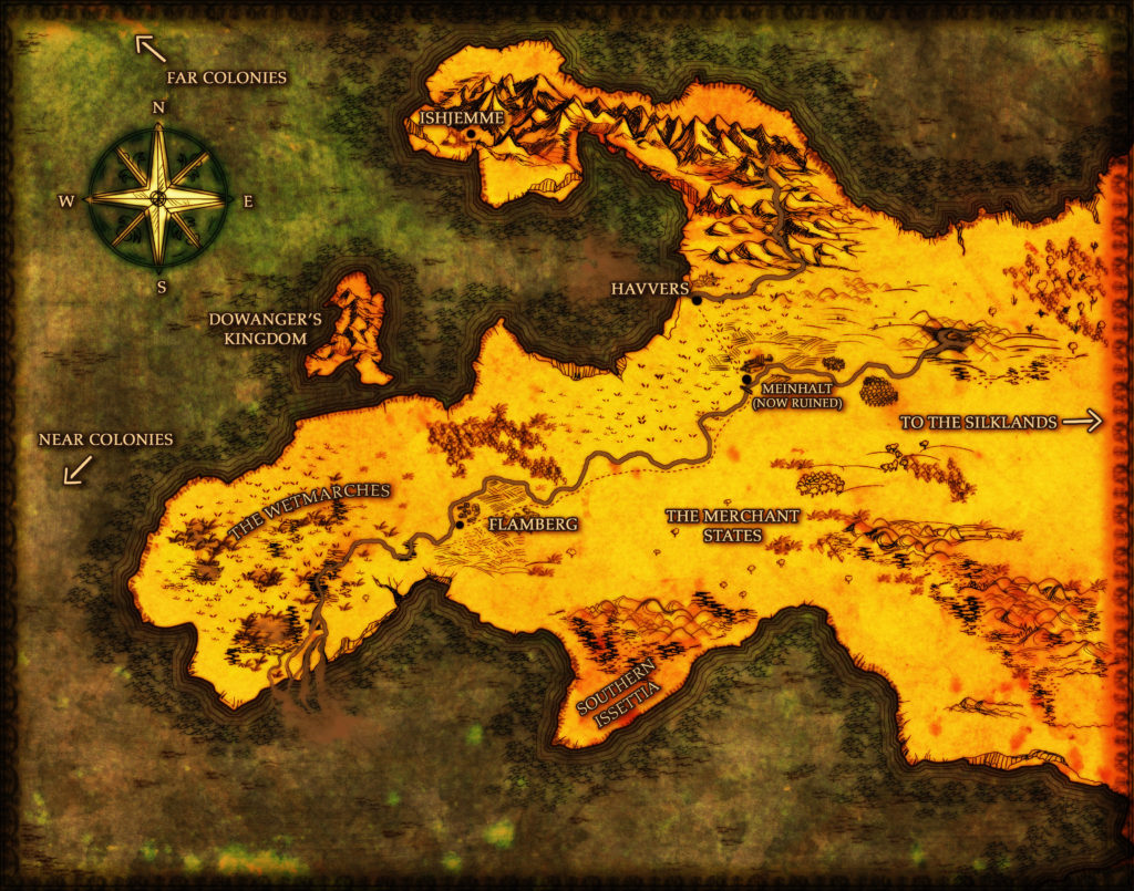 left justified fantasy country map cartography stormy broody Game of Thrones Lord of the Rings style cartography for speculative novel
