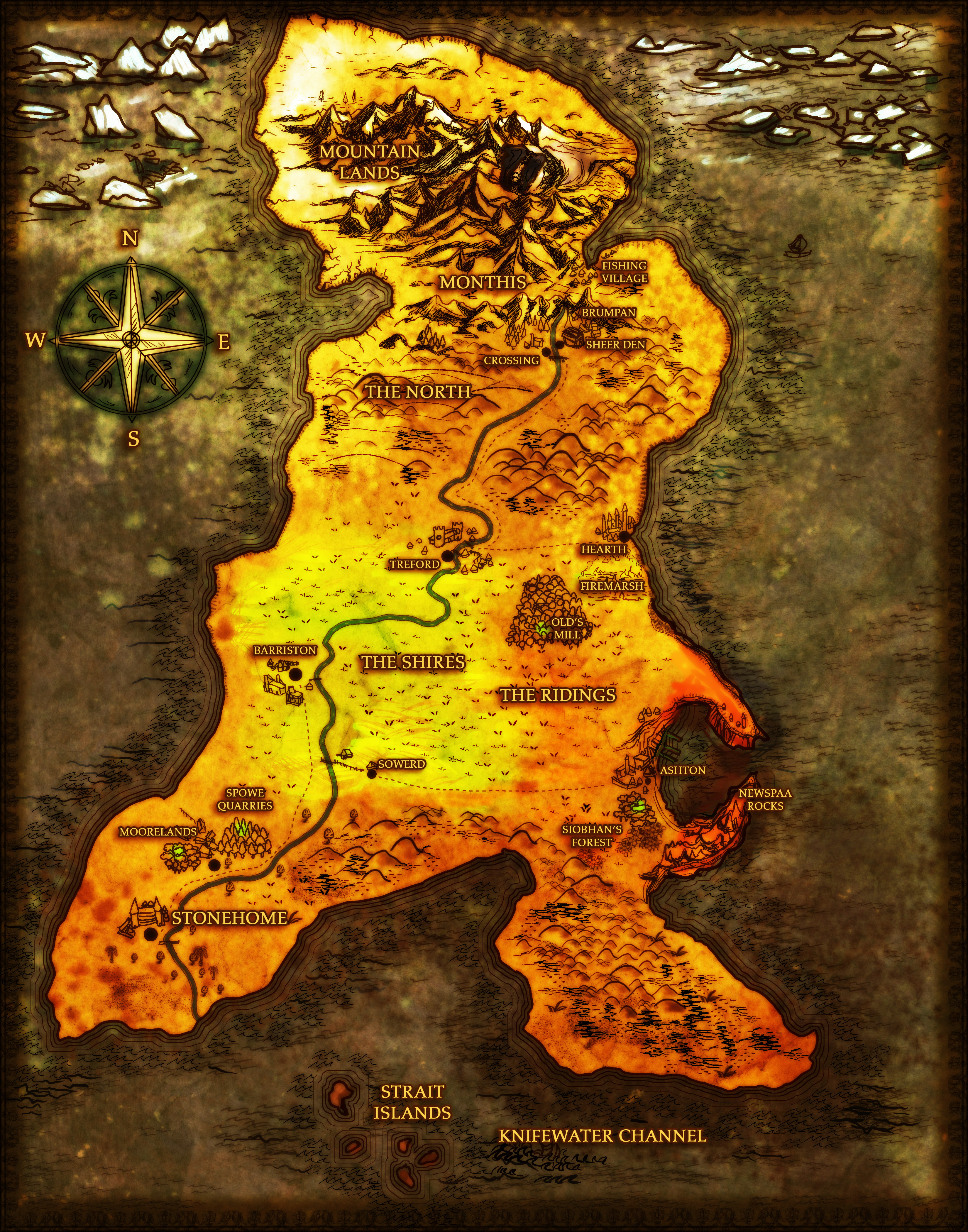Dark color fantasy cartography Victorian city on the sea yellow parchment icebergs north country map