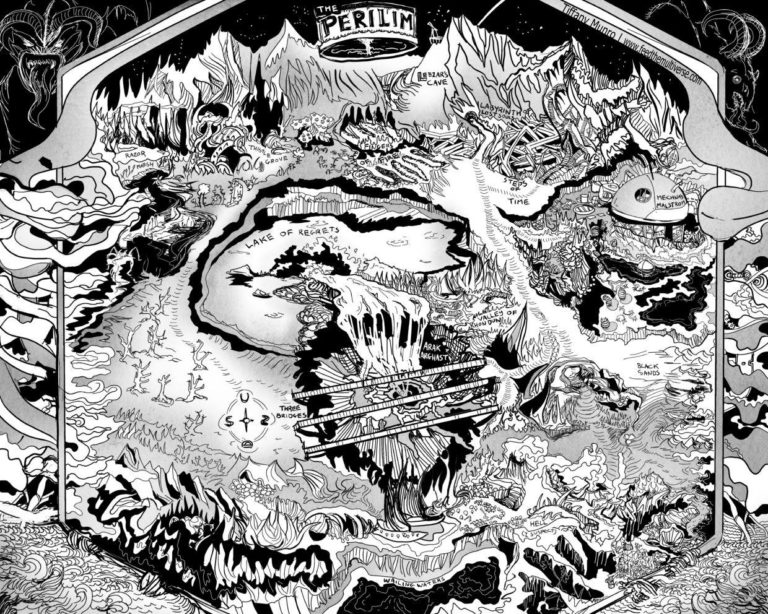 The Perilim black and white perspective distorted hellscape hell dungeon madness regrets insane wizard wimblebilder fantasy map cartography cartographer custom b&w dungeons and dragons map dnd d&d pathfinder custom map commissions