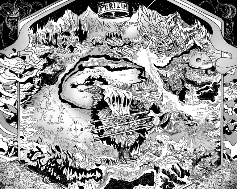 The Perilim - a Dungeons and Dragons nightmare realm hell probably and a huge pit black and white highly detailed fantasy dungeon map lineart for roleplaying game RPG