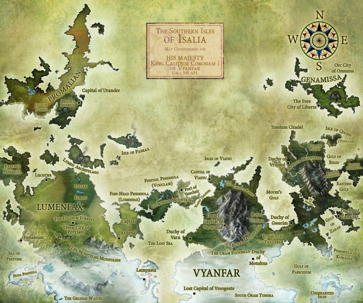 Realistic color fantasy map island archipelago peninsula tundra mountains roleplaying game political map