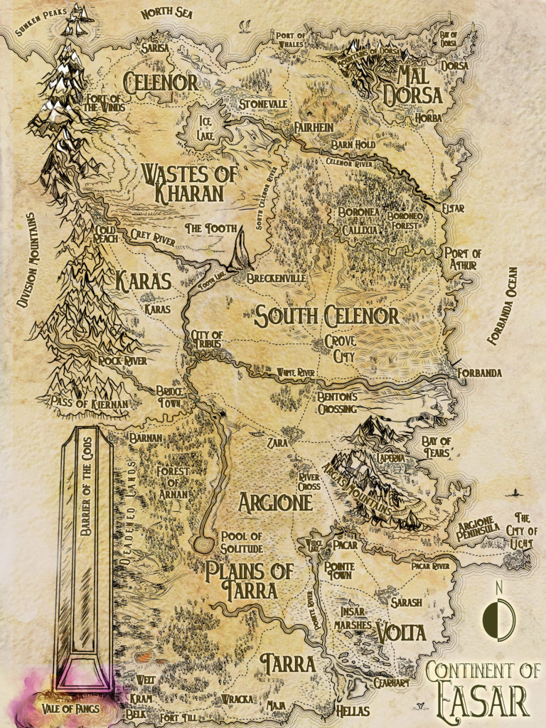 Parchment dungeons and dragons map in Tolkien cartography style