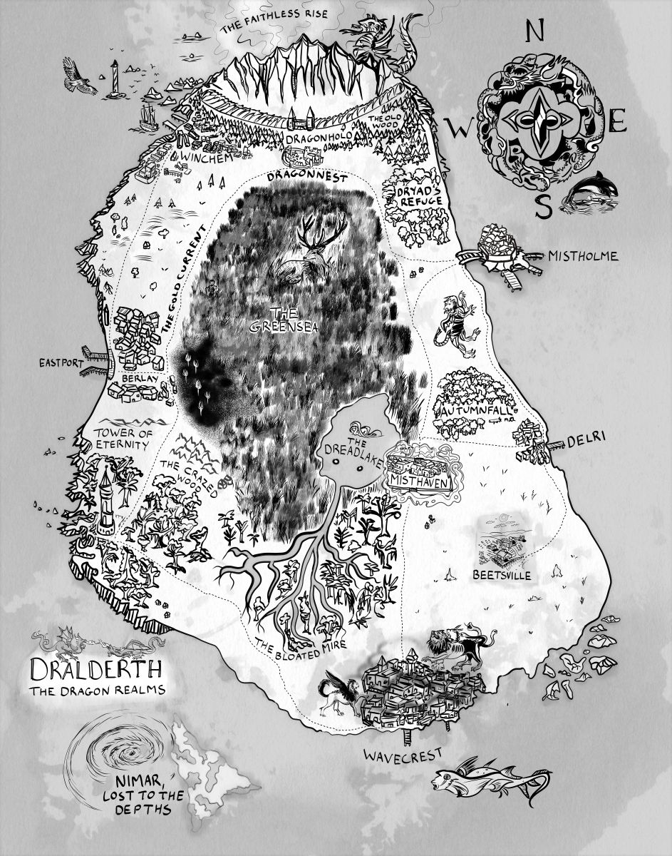 Dralderth - the Dragon Realms Adam novel fantasy country map distorted by cartographer cartographic perspective by the author artist animals fantastic notations and illustrations of creatures and critters and animals and monsters in the world of the Dragon Realm contemporary 2019 2020 fantasy authors bw black and white ink simple fantasy continent hand drawn digital ink custom compass storytelling elements worldbuilding elk dragons killer whales chimera tiffany munro fantasy cartography world creator and consultancy consultant