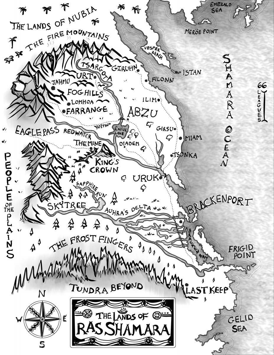 black and white b&w ink basic texture fantasy country region map Ras Shamara novel by Sam Ford fantasy map portfolio commission for novelist writer story fictional place Sumerian legend south American America fantasy contemporary writers new fantasy novel