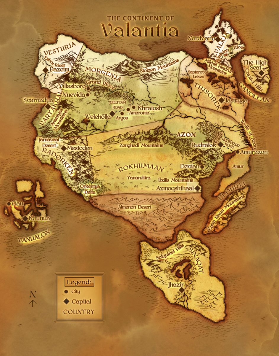 The Valantian Imperium map - Parchment and watercolor fantasy map with simple legend and ice caps parchment Lord of the Rings epic world building fantasy contemporary world building world builder