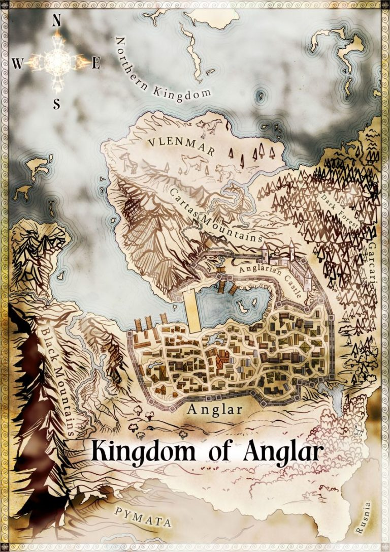 Kingdom of Anglar Terra map bridge city map for novel Tiffany Munro fantasy map