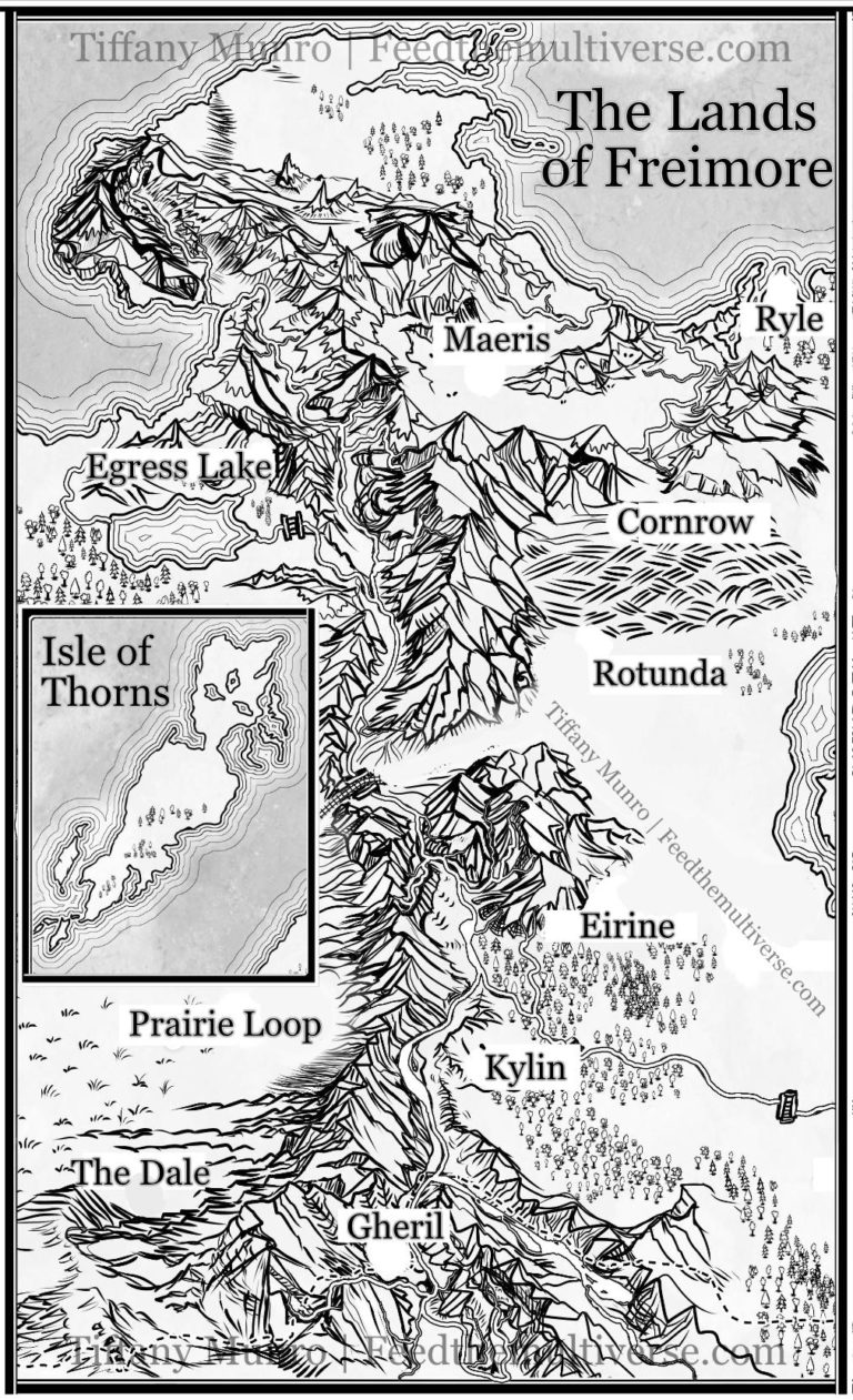 The Lands of Freimore – Black and White Country Map with Mountain Range