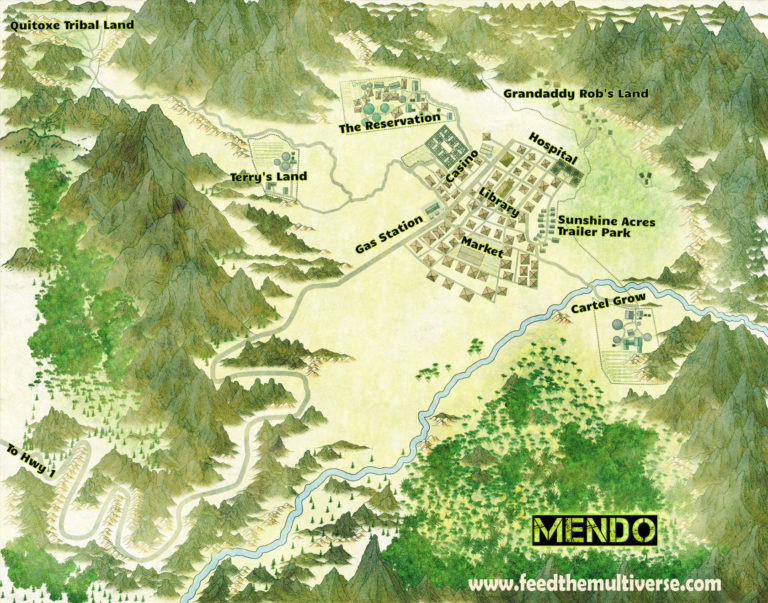 Town of Mendo – modern village, trailer park, reservation and farms map in mountain valley
