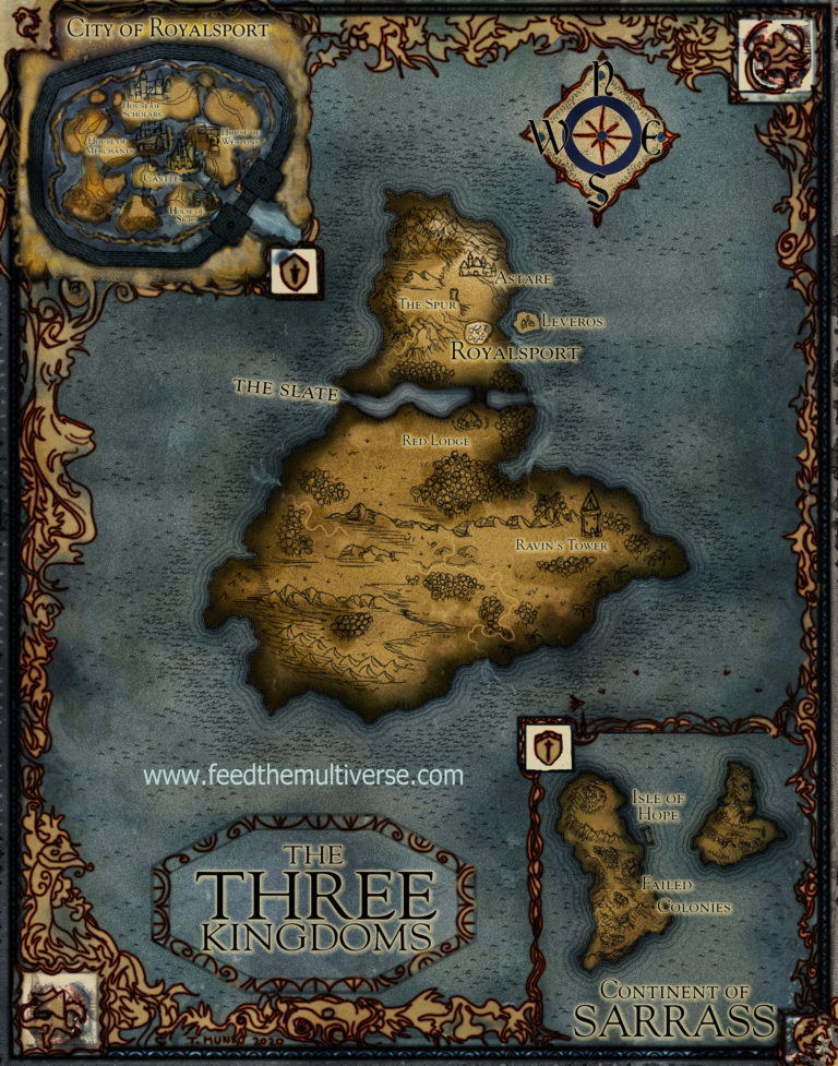 Fantasy map blue parchment ocean water frame city inset Royalsport city of dragons scholars merchants weapons for Novel Renewal.