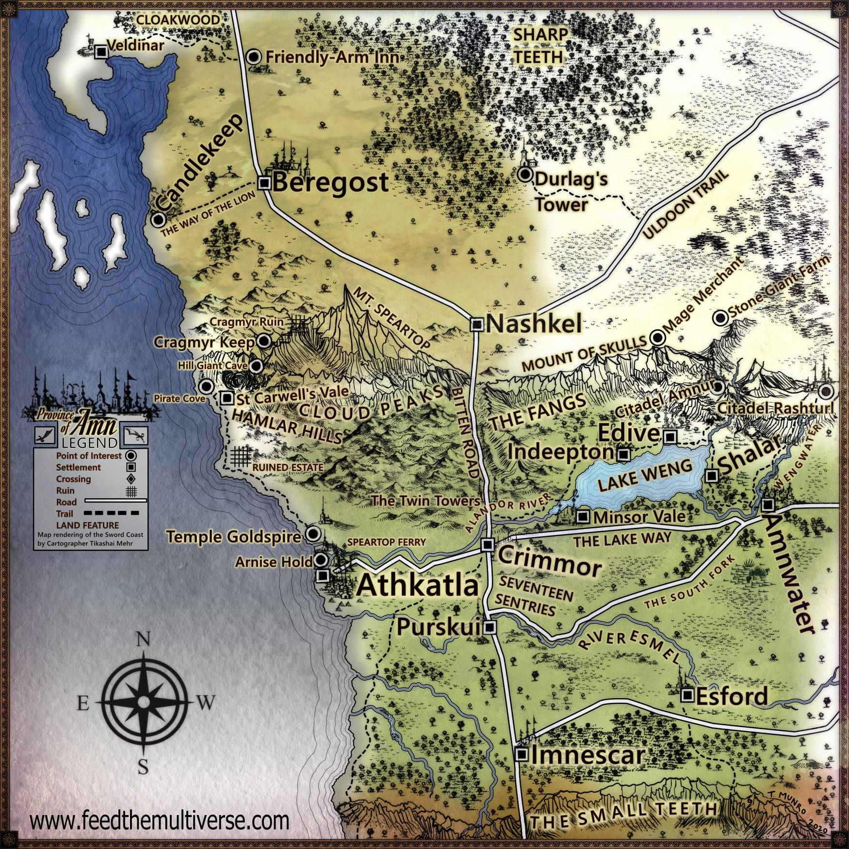 Sword coast province of Amn map from Candlekeep, Beregost, to the City of Keys, Athkatla, Faerun Dungeons and Dragons 5e next setting map