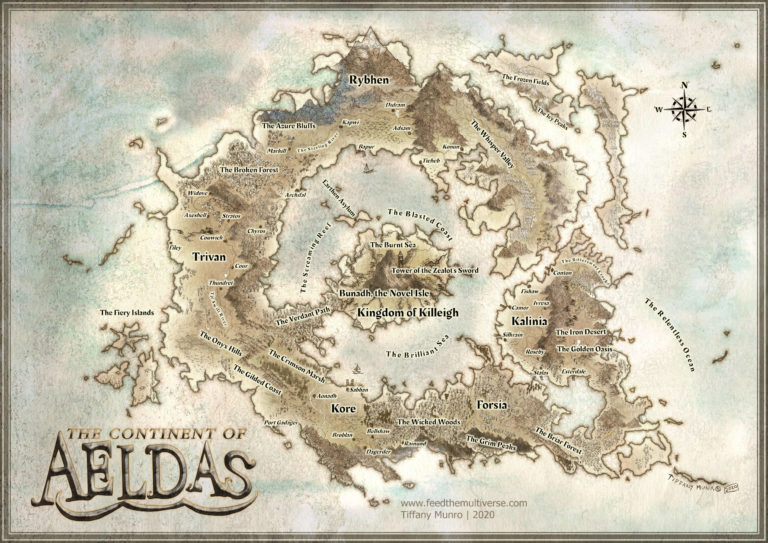 Ring World Continent of Aeldas Parchment Watercolor old fashioned medieval fantasy map Tolkien Lord of the Rings Middle Earth style map for Dungeons and Dragons Pathfinder 5e 4e 3.5e 2e 3e RPG campaign game master lore master dungeon master dm gm lm map for gamer