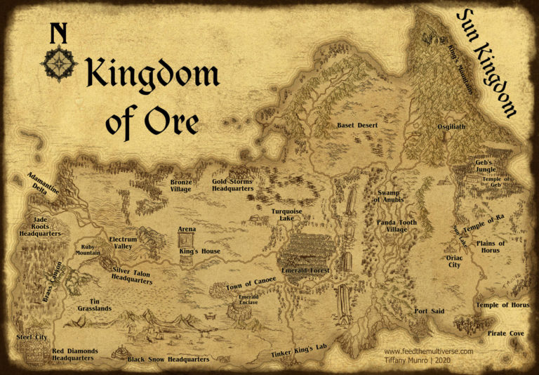 Kingdom of Ore and the Sun Kingdom parchment map