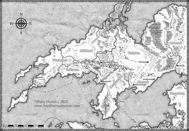 Black and White Country Map for Upcoming Novel by Max Schumann