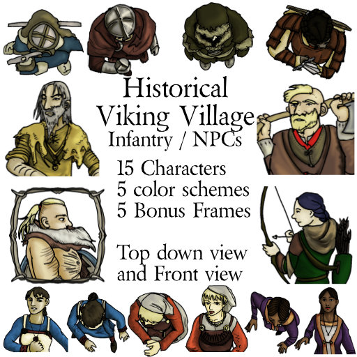 Historical Viking Norse Villager Infantry Tokens for Virtual Tabletop VTT Dungeons and Dragons D&D 5e Pathfinder Gurps