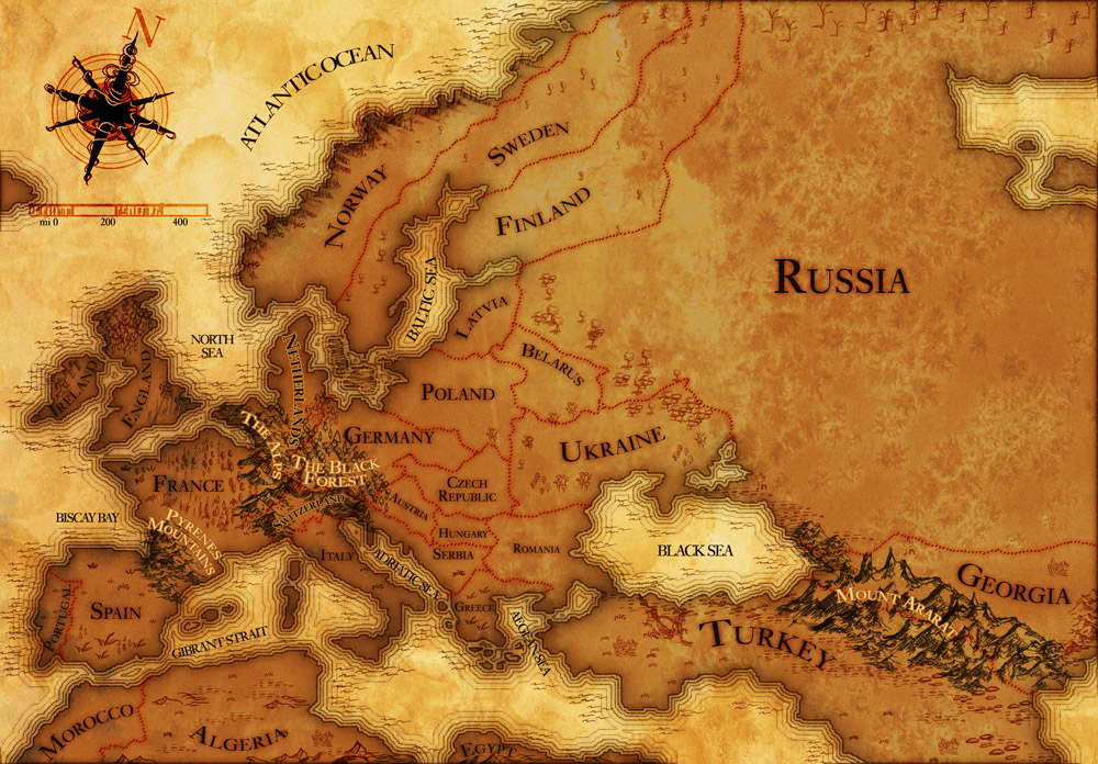 Old fashioned map of Europe